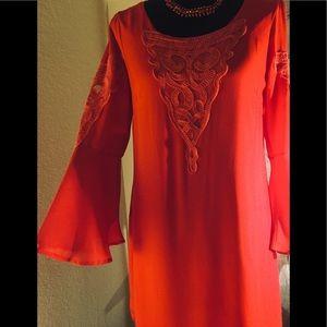 Red bell sleeve boho dress M